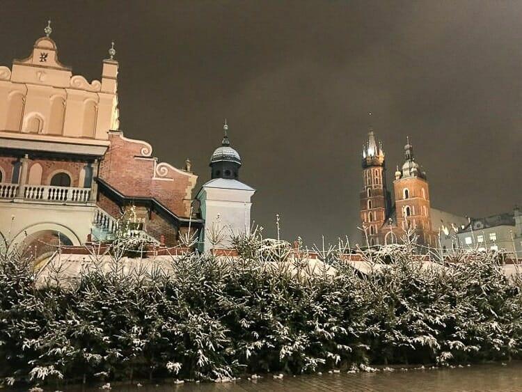 main square krakow winter