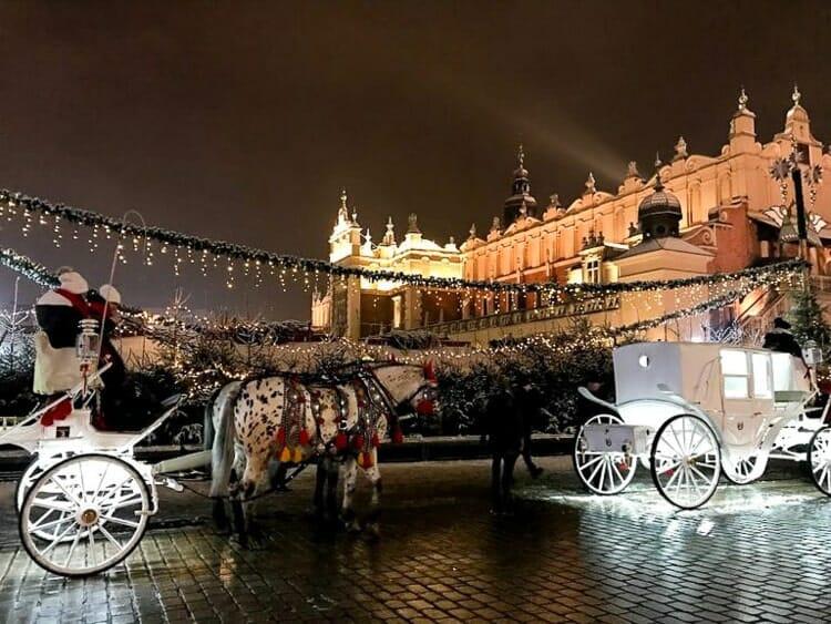 horse main square krakow winter